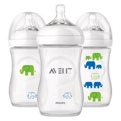 AVENT Natural 9 Oz Bottles Elephant (3 Bottle Pack)