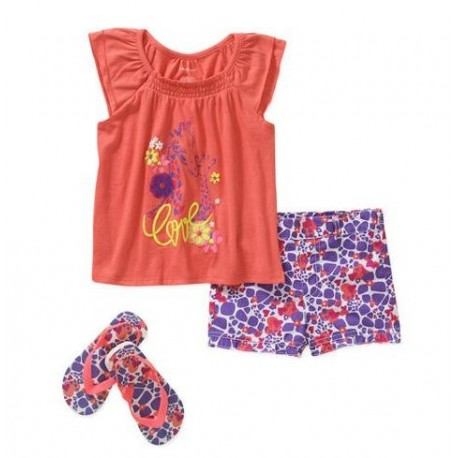 Healthtex Baby Toddler Girl Tee, Shorts, and Flip Flops 3-Piece Outfit Set
