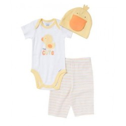Gerber Baby Boy 3-Piece Critter Onesie, Pant, and Cap Set