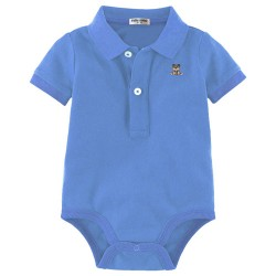 Minizone Baby Romper with Collar - Light Blue