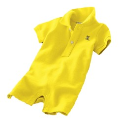 Minizone Baby Romper Shorts with Collar - Light Yellow