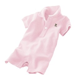 Minizone Baby Romper Shorts with Collar - Light Pink