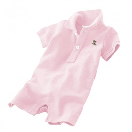 Baby Romper with Collar - Light Pink