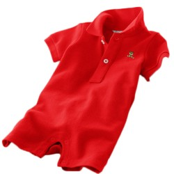 Minizone Baby Romper Shorts with Collar - Red
