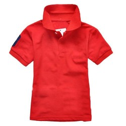 Polo Shirt with Collar, red