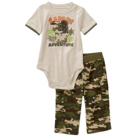 Garanimals Newborn Baby Boy Creeper and Woven Pant Outfit Set