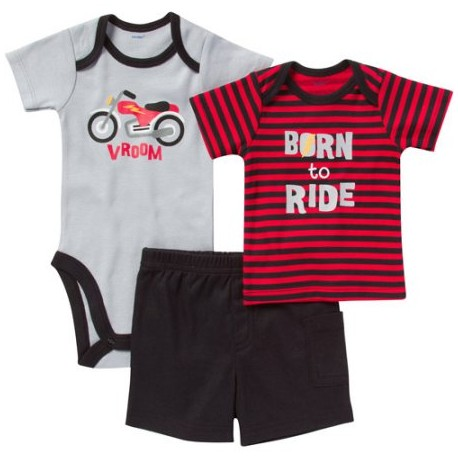 Gerber Newborn Boy Bodysuit, Shirt, and Shorts 3-Piece Outfit Sets
