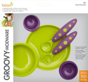 Boon Groovy and Modware Interlocking Plate and Bowl Set with Utensils